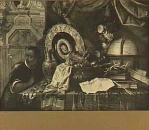 Stilleven met siervaatwerk, vaasje met bloemen, globe, boeken, een brief, een horloge en links een jonge moor.