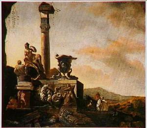 Landschap met ruiters bij een antieke fontein