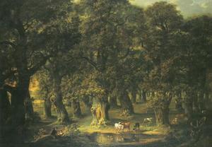 Gezicht op het  eikenwoud bij Querum