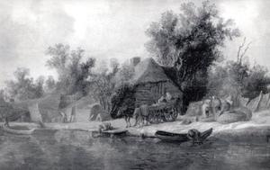 Landschap met boeren en een wagen bij de waterkant