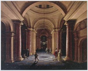 Kerkinterieur bij kaarslicht