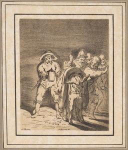 Soldaten, gevangenen en een lijk, gedragen door een ezel