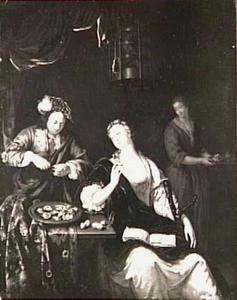 Galante dame en heer met oesters