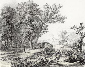 Arcadisch landschap met links een herder en rechts aan de voet van een waterval twee rustende reizigers