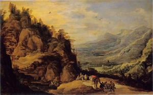 Berglandschap met reizigers en een gevallen ezel