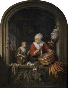 Haringverkoopster en meisje in een venster