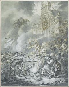 Gevecht tussen cavalerie en soldaten te voet bij een kerk