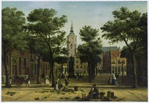 Grote Markt in Den Haag; de Grote of Sint-Jacobskerk in het verschiet