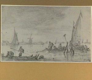 Rivierlandschap met vissersboten en vissers, op de achtergrond Haarlem, de St. Bavo (?)