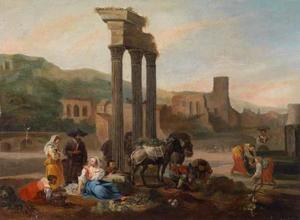 Zuidelijk landschap met vrouwen bij een klassieke ruïne