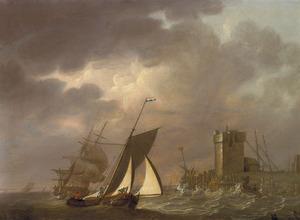 Zeilschepen voor een havenkade met woelig water
