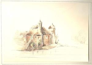 Kasteel Waardenburg aan de Waal, gezien vanuit het noordoosten