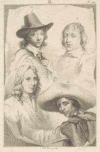 Portretten van Cornelis Visscher II (?-1658), Jan de Visscher (?-?), Richard Brakenburg (1650-1702) en Pieter Codde (1599-1678)