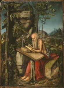 Heilige Hieronymus in een rotslandschap