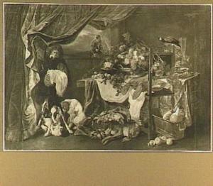 Stilleven van vruchten, jachtbuit en kreeft; links een jongen die een gordijn ophoudt met aan zijn voeten twee honden en een kat