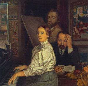 Portret van Andries Bonger (1861-1936), zijn vrouw Annie van der Linden en Emile Bernard (1868-1941)