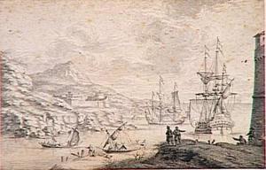 Kustgezicht met schepen en een vesting