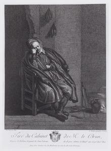 Oude man slapend bij het vuur, mogelijk 'de Luiheid'