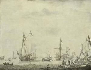 Het prinsenjacht en het Statenjacht verlaten Moerdijk met Karel II van Engeland aan boord, 1660