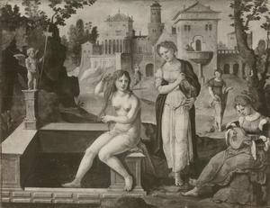 David bespiedt Batseba in bad en laat haar halen (2 Samuel 11:4)