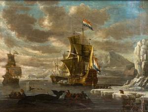 Hollandse walvisvaarders voor een bergachtige kust