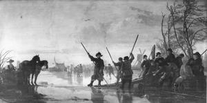 Vissers op bevroren Maas bij Dordrecht