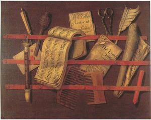 Trompe-l'oeil van een brievenbord met muziekboek en fluit