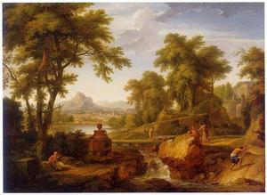 Italiaans landschap met een herder met schapen die over een brug loopt