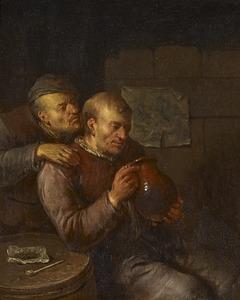 Drinkende boeren in een interieur