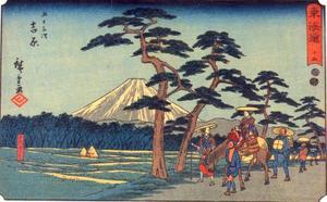 Fuji bij Yoshiwara, gezicht langs de Tokaido