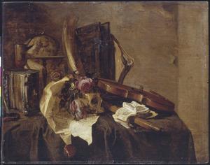 Vanitasstilleven met een schedel en een viool