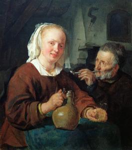 Jonge vrouw met kruik en een rokende oude man