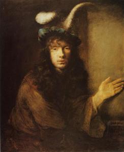 Portret van een jonge man met uitgestrekte hand