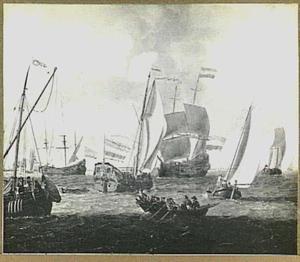 Verschillende schepen op de rede van Amsterdam