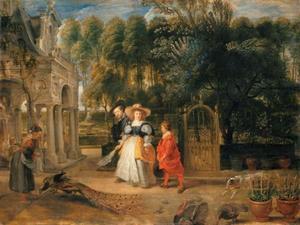 Peter Paul Rubens (1577-1640) met zijn tweede vrouw Hélène Fourment (1614-1673) en zijn jongste zoon Nicolaes (1618-1637) wandelend in de tuin