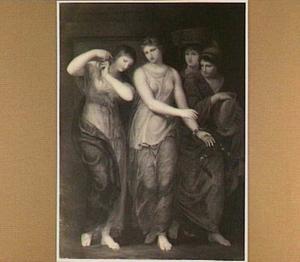 Electra snijdt haar haren af om het door haar zuster Chrysothemis bij het graf van haar vader te laten brengen (Sofocles, Electra, acte 4, scène 5)