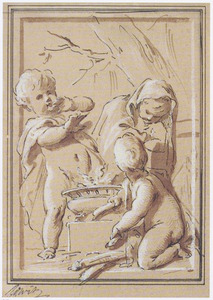 Drie putti bij een brandend komfoor: allegorie op de winter