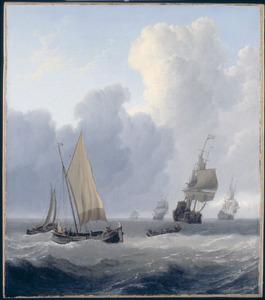 Zeegezicht met enkele oorlogsschepen in een bries