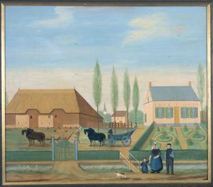 Landschap met portret van Petrus Johannes Schillemans  (1836-1897), Charlotte Morres (1834-1893) en Amelia Schillemans (1865-1940)