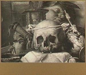Vanitasstilleven met schedel, brief en muziekinstrumenten