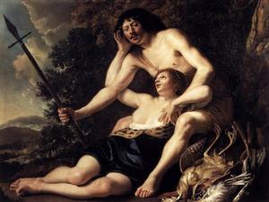 Venus en Adonis, mogelijk een zelfportret van Christiaen van Couwenbergh (1604-1667)