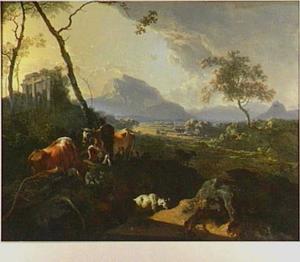 Zuidelijk berglandschap met rustende herders