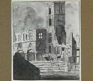 Amsterdam, de ruïnes van het oude stadhuis na de brand van 1652