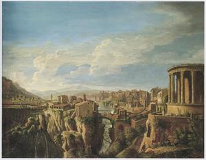 Gezicht op Tivioli met de tempel van Vesta