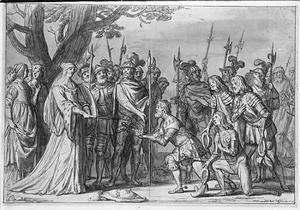 Koning Albrecht overhandigt de Zweedse kroon aan Koningin Margaretha I van Denemarken, 1389