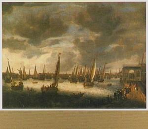 Admiraalzeilen op de Amstel te Amsterdam, mogelijk ter gelegenheid van de aankomst van Elisabeth van de Palts