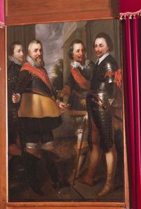 Portret van Willem Lodewijk van Nassau-Dietz (1560-1620), Lodewijk Günther van Nassau-Dietz (1575-1604), Ernst Casimir van Nassau-Dietz (1573-1632) en Philips van Nassau-Dietz (1566-1595)