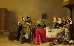 Elegant rokend en drinkend gezelschap in een interieur