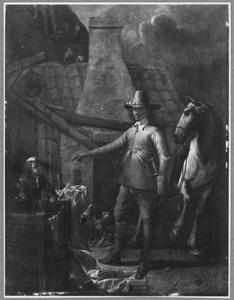 Officier met paard bij waterput