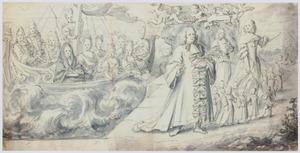 Allegorie, landing van een vorst die zijn koninkrijk opeist